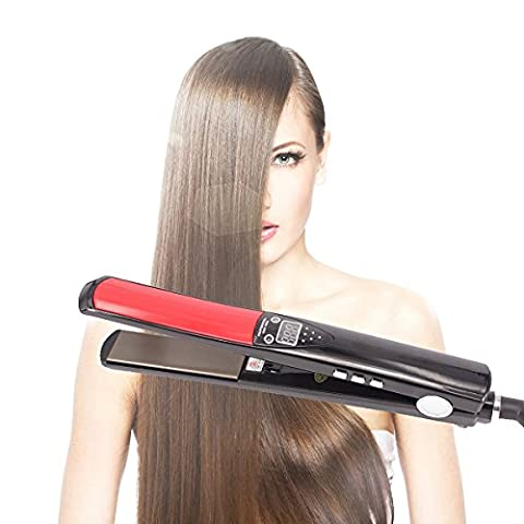 Salon Hair Straightener, ManKami 1 Inch Professional Nano-Titanium Slimmer Flexible Ceramic Straight Flat Iron Digital LCD Display Straightening Hair