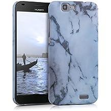 kwmobile Funda Hardcase Diseño mármol para Huawei Ascend G7 en blanco negro