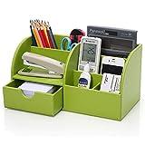 Topdo 1x Stiftebecher Stiftebox 7 Speicherabteil Multifunktionale Kunstleder Schreibtisch Organisator Desktop-Speicher Stifthalter 28 x 14,5 x 14,5 cm