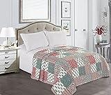AmeliaHome 220x240 cm Tagesdecke weiß rot grün Bettüberwurf elegant zweiseitig pflegeleicht Fanny white red green