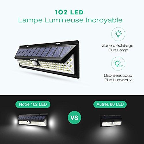 Modes Éclairage Lampe 102 Extérieur D Détecteur 1100 Puissante 3 Mpow Version 2 Solaire Etanche Eclairage De Pack Lumens Mouvement Led 45AjRL