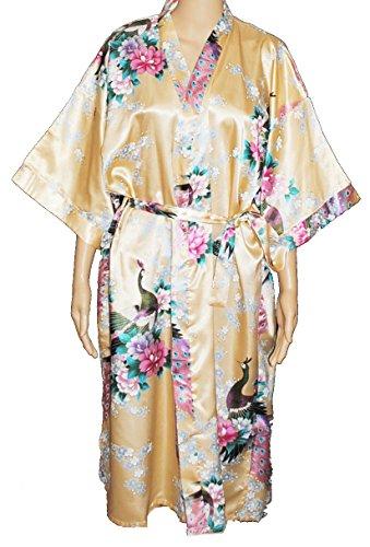 Damen Morgenmantel Bademantel Schlafanzuge Kimono Robe der Pfau Gold