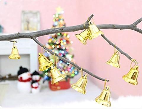 Kingko® 9 PCS Christmas Tree Small Bell Pendant Decoration Supplies Festival Party Hanging Ornament Decor (Gold)