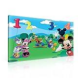 Zum Aufhängen Leinwand Wand Kunst–Zählen mit Disney Mickey Minnie Mouse Goofy Donald Daisy Duck–XXL–99,1x 74,9cm (100x 75cm)–Grün Bild Panel