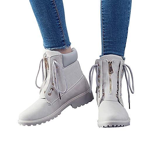Tatis Shoes Einfarbiges Wildleder mit Dickem Viereck mit Martinstiefeln Frauen Solid Lace Up Zipper Casual Stiefeletten Runde Kappe Schuhe Student Snow Boots
