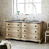 Tikamoon Hermoine Waschtisch mit Doppel Waschtisch, Kiefer, beige, 170x 64x 85cm
