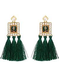 Sanjog Dark Green Fusion Kundan Stone Tassel Earring For Women Girls