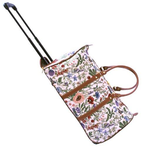 Signare fourre-tout à roulettes tapisserie/ bagage à roulettes et poignée rétractable Jardin de matin