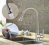 Gebürstete Küchenarmatur herausziehbarer Geschirrbrause 2 Strahlarten Hochdruck Hoher Auslauf 360°Schwenkbereich aus Messing Küche Armatur