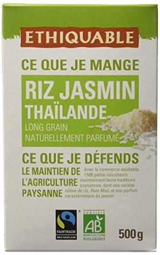 Ethiquable Riz Jasmin Thaïlande Bio et Équitable 500 g Max Havelaar - Lot de 4