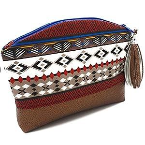 Kosmetik Täschchen, Mäppchen, Beauty Tasche, Zippertasche Azteke mit Lederquaste