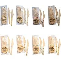 Cubiertos desechables Cuchillos de madera Juego de accesorios ecológicos - Lunares (Rosa claro, 60)