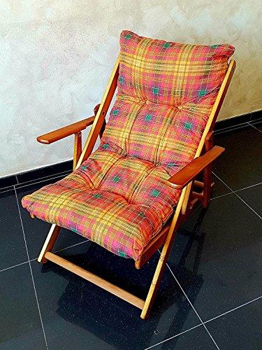 no brand Fauteuil Chaise Relax Chaise Longue en Bois Pliable Coussin rembourré Orange H 100 cm Nouveau
