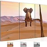 Bilder Afrika Elefant Wandbild 120 x 80 cm - 3 Teilig Vlies - Leinwand Bild XXL Format Wandbilder Wohnzimmer Wohnung Deko Kunstdrucke Orang -100% MADE IN GERMANY - Fertig zum Aufhängen 002031a