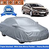 #7: Autofact Premium Silver Matty Triple Stitched Car Body Cover with Mirror Pocket for Maruti Ciaz