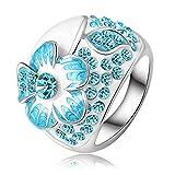 Daesar Vergoldet Ringe Damen Blume Zirkonia Ring Strass Verlobungsring Stein Ring Größe: 57 (18.1)