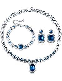 Juego de joyas T400 Jewelers para mujer, Swarovski «Love in Danube», con collar, colgante, pulsera y pendientes, joyería elegante para bodas y celebraciones