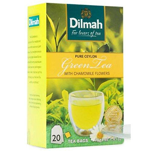 Dilmah reiner grüner Tee mit Ceylon-Kamillengeschmack - 20 Teebeutel - feinster grüner Tee aus Sri Lanka mit Kamillenblüten (Frühlings-rollen)