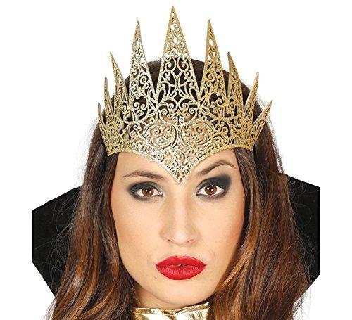 Damen Gold Böse Königin Tiara Krone Halloween Fee Märchen Prinzessin (Gold Kostüme Krone)