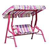 Angel Living 5861010 Kinder Hollywoodschaukel mit Sitzgurt 2 Sitzer Gartenschaukel mit Sonnenschutz aus Stahl (Rosa)