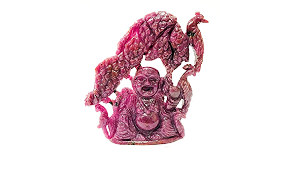 674 Carat Meditation Ruby Gemstone Perfect Laughing Buddha Statue 3.9 X 3.35