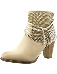 Sopily - Zapatillas de Moda Botines Tobillo mujer fishnet cadena cuerda Talón Tacón ancho alto 8 CM - Beige