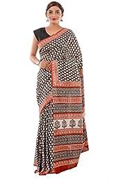 Cotton Black Hand Block Floral Printed Sari Saree Handloom Cotton Sari