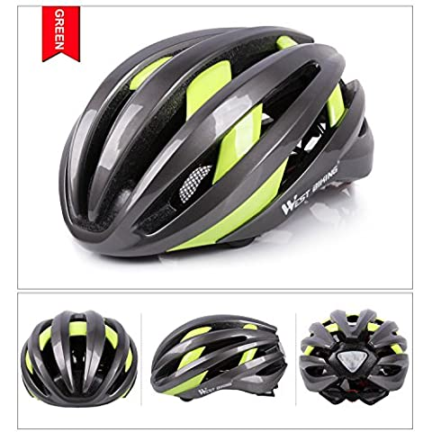 West Biking casque de vélo avec casque Bluetooth rechargeable USB intelligent Navigation casques de vélo avec arrière du vélo Accessoires pour vélo, Enfant Homme femme, Gris/vert