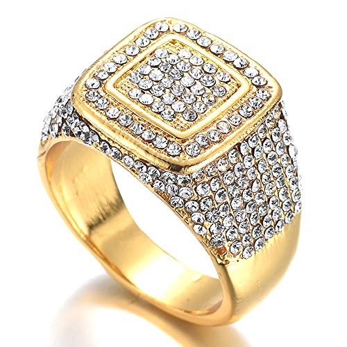 Jacklin F 18K Gold Iced Out Hip Hop Ring Simulierter Diamant Band Micropave Herren Bling Ring