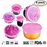 Silicone Stretch Lids Reusable, Set of 6 Durable Silicone Food Saver Covers for Dishes, Bowls, Pots, Containers, Dishwasher, Freezer, Oven, Microwave Safe(Pink)