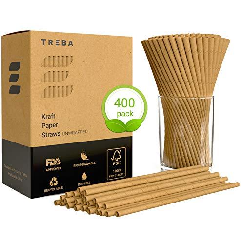 TREBA 400 Biologisch Abbaubare Trinkhalme aus Kraftpapier - Auswickeln Trinkhalme - Farbstofffreie Einweg-Strohhalme für Cocktails, Kalte und Heiße Getränke (Recyclebare Trinkbecher)