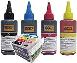 Kompatibel Refillset T1285 Leere wiederbefüllbare Patronen mit Autoresetchips und 4 x 100ml Nachfülltinte für Epson Stylus S22, SX125, SX230, SX420W, SX425W, SX445W, SX430W und Office BX305F, BX305FW, BX305FW Plus Drucker