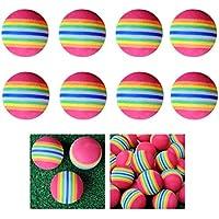 LIOOBO 8pcs 38mm Rainbow EVA Foam Ball Golf práctica práctica de Entrenamiento de Entrenamiento Soft Golf Training Ball (Colorido)