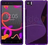 Tumundosmartphone Funda Gel TPU para BQ AQUARIS M5 S-Line Color Morada