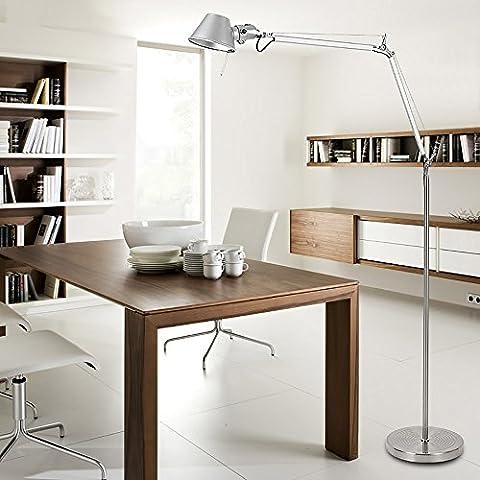 TOYM UK Einfache moderne silberne faltbare Aluminium-Bodenlampe Wohnzimmer Studie Schlafzimmer Nachttisch Retro-Stehleuchte ( Farbe : Kleine )