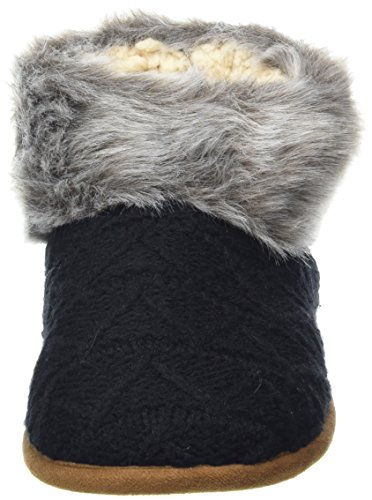 Dearfoams - Textured Knitted Bootie W/Pile Cuff, Pantofole a Stivaletto Donna Black (Black)