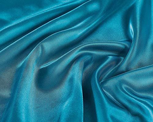 Linen Plus California Bettwäsche-Set für King-Size-Betten, Satin, weiche Seide, gemütlich, Türkis, 4-teilig -