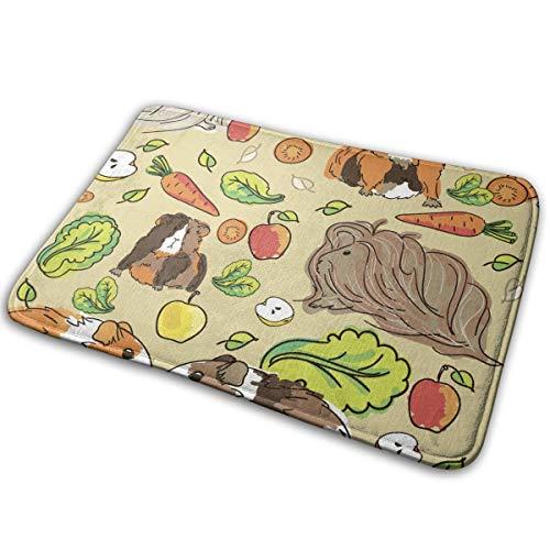 Alysai Meerschweinchen mit Haustieren und Nahrungsmitteln Badteppich rutschfeste Badematte für Badezimmer (16 x 24) Maschinenwaschbarer Badeteppich für Badezimmer Dicke Plüschteppiche für die Dusch