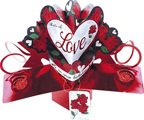 Second nature, motivo: cuore e rose pop up-biglietto di auguri di compleanno