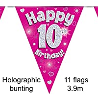 Happy 10th Birthday Pink Holographic Foil Party Bunting 3.9m Long 11 Flags