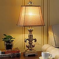 Global- Europeo lampada da tavolo di lusso della lampada in resina classica stoffa paralume decorativi americani Retro Pastorale Living ristorante camera da letto lampada da comodino ( colore : Oro )
