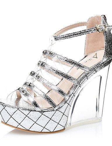 LFNLYX Chaussures Femme-Décontracté-Argent / Or-Talon Compensé-Compensées / Talons / Bout Ouvert-Sandales-Similicuir golden