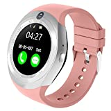 Bluetooth smart orologio Slot per Scheda SIM Android Smartwatch Touch Screen e Camera Orologio Fitness Watch con Pedometro/Monitor del Sonno per Android Smartphone (Rosa)