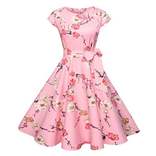 TUDUZ Damen Vintage Bodycon Partykleid Rockabilly Kurzarm Retro Prom Swing Kleider Cocktailkleid Abendkleid