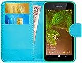 G-Shield Hülle für Nokia Lumia 530 Klapphülle mit Kartenfach und Magnetverschluß Kunstleder mit Displayschutzfolie und Stylus - Hellblau