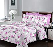 Bombay Dyeing Breeze Collection Flat Double Bedsheet, Printed, Set of 3, 224 x 254 cm, Pink, 4910 B