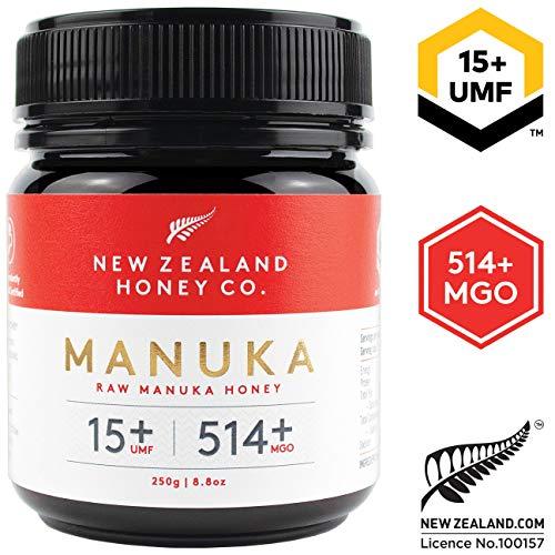 New Zealand Honey Co. Miel de Manuka MGO 514+ / UMF 15+ | Nueva Zelanda Miel 100{021dbb98fda2ecd82cca62bec0169d8c600d0dd564dae33964fada2ff66e55e7} Pura y Saludable | 250g