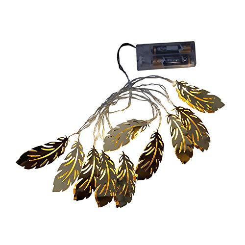 Altsommer Gold Feder LED Weihnachtsbeleuchtung 3M Dekoration,Lichterkettenvorhang 20 LEDs,LED Lichterkette Innen,Außen,Batteriebetriebene, für Weihnachten Hochzeit Party Halloween (Gold) -