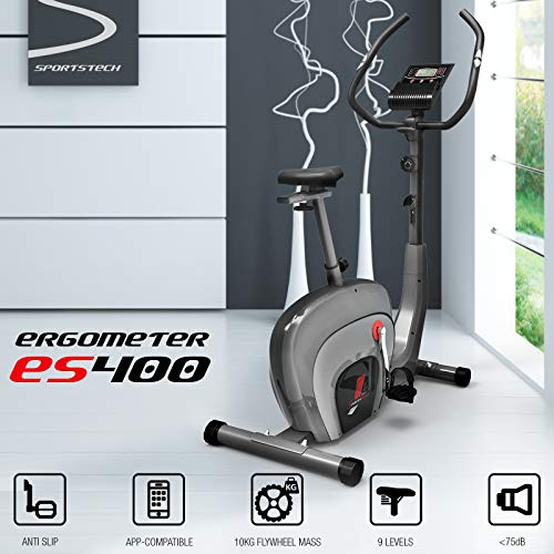 Sportstech-ES400-Home-Exercise-Bike–Smartphone-APP-control–10kg-flywheel–Bluetooth–Pulse-monitor–Home-Trainer-with-Magnetic-Brake-System–Bicycle-trainer–Fitness-bike–Tablet-holder