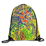 Etryrt Zaino con Coulisse,Borse Sacca,Sacchetto Abstract Flower Yellow Drawstring Backpack Bag Shoulder Bags Gym Bag for Adult